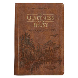 In Quietness and Trust: 366 Daily Devotions, Zippered Brown Faux Leather