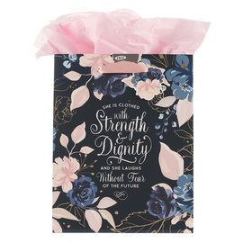 Gift Bag - Strength and Dignity, Medium Blue Floral