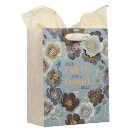 Gift Bag - Grateful Heart, Medium Blue