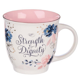 Mug - Strength and Dignity, Pink and Blue Floral