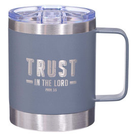 Stainless Steel Mug - Trust in the Lord, Gray Camp Style