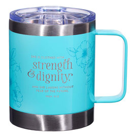 Stainless Steel Mug - Strength and Dignity, Teal Camp Style