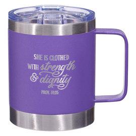 Stainless Steel Mug - Strength & Dignity, Purple Camp Style