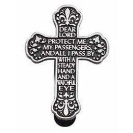Visor Clip - Cross, Traveler's Prayer