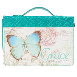 Bible Cover - Grace Teal Butterfly, Large