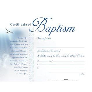 Certificate - Baptism Romans 6:3-4 KJV