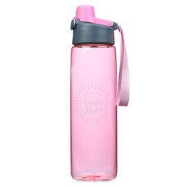 Plastic Water Bottle - Grateful Heart, Pink