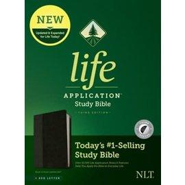 NLT Life Application Study Bible 3, Black/Onyx Leathersoft, Indexed