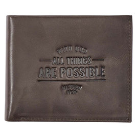 Men's Wallet - With God All Things are Possible, Brown Genuine Leather
