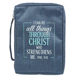 Bible Cover - I Can Do All Things, Navy