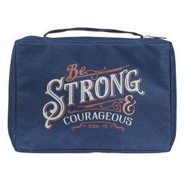 Bible Cover - Be Strong & Courageous, Navy