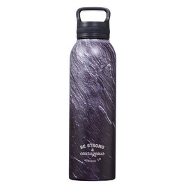 Stainless Steel Water Bottle - Strong & Courageous, Black