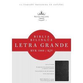 RVR 1960/KJV Letra Grande Bilingue Bible, Cuero Negro Suave