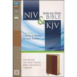 NIV/KJV Parallel Bible, Tan/Burgundy Leathersoft