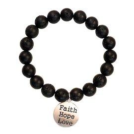 Bracelet - Faith Gear, Faith Hope Love (Black)