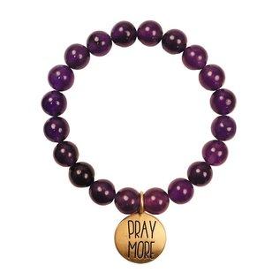 Bracelet - Faith Gear, Pray More Worry Less (Purple)