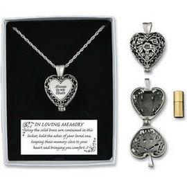 Necklace - Always in My Heart, Memorial Urn Locket w/ Vial