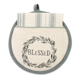 Hot Pad & Tea Towel - Blessed, Gray