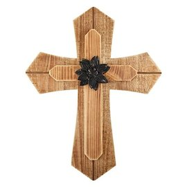 """Wall Cross - Layered with Flower (14""""x18"""")"""