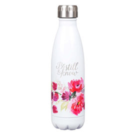 Stainless Steel Water Bottle - Be Still and Know, White with Flowers