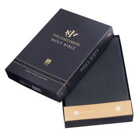 KJV Large Print Thinline Bible, Black Full Grain Genuine Leather, Indexed