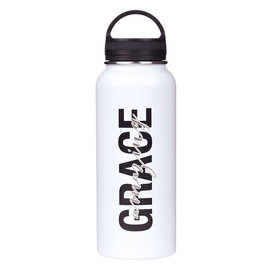 Stainless Steel Water Bottle - Amazing Grace, White