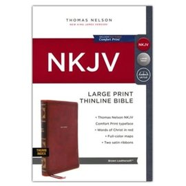 NKJV Large Print Thinline Bible, Brown Leathersoft, Indexed