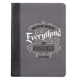 Journal - With God Everything is Possible, Gray LuxLeather