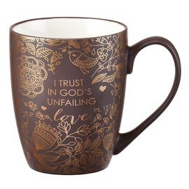 Mug - I Trust in God's Unfailing Love, Brown with Gift Box