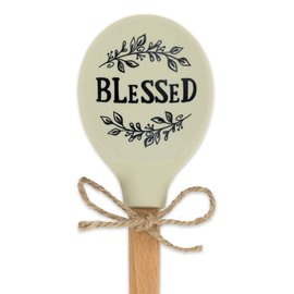 Silicone Spoon - Blessed, Wooden Handle