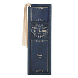 Bookmark - Trust in the Lord, Blue Faux Leather