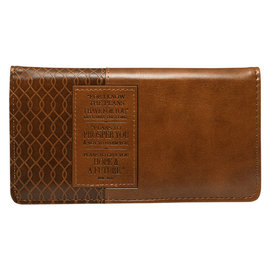 Checkbook Cover - I  Know the Plans, Brown