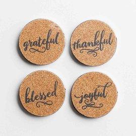 Coaster Set - Thankful Grateful Blessed Joyful, Cork/Metal