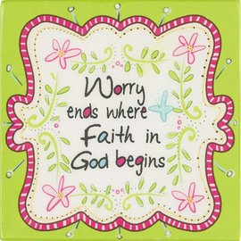 Magnet - Worry Ends, Green MDF