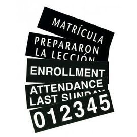 Extra Slide and Numeral Set for Register Boards, Two-Sided English and Spanish