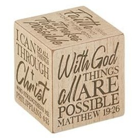 """Quote Cube - With God, 3""""x3"""""""