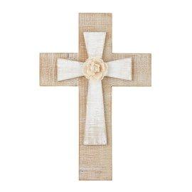 "Wall Cross - Layered Cross with Flower, 12"""