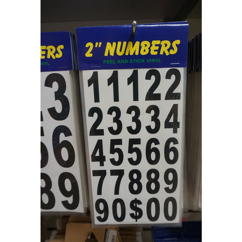 """Stick-on Numbers 2 """" black or red"""