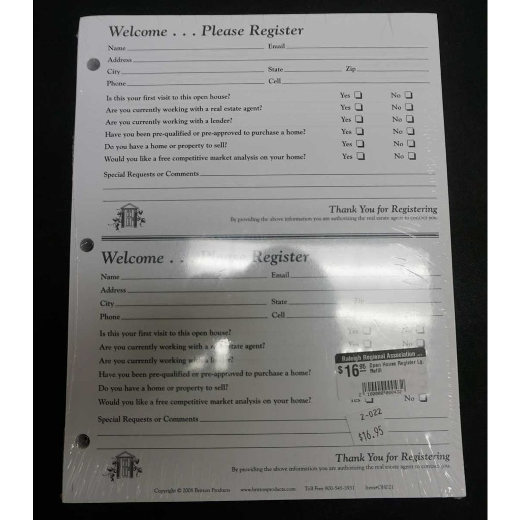Open House Guest Register Lg. Refill