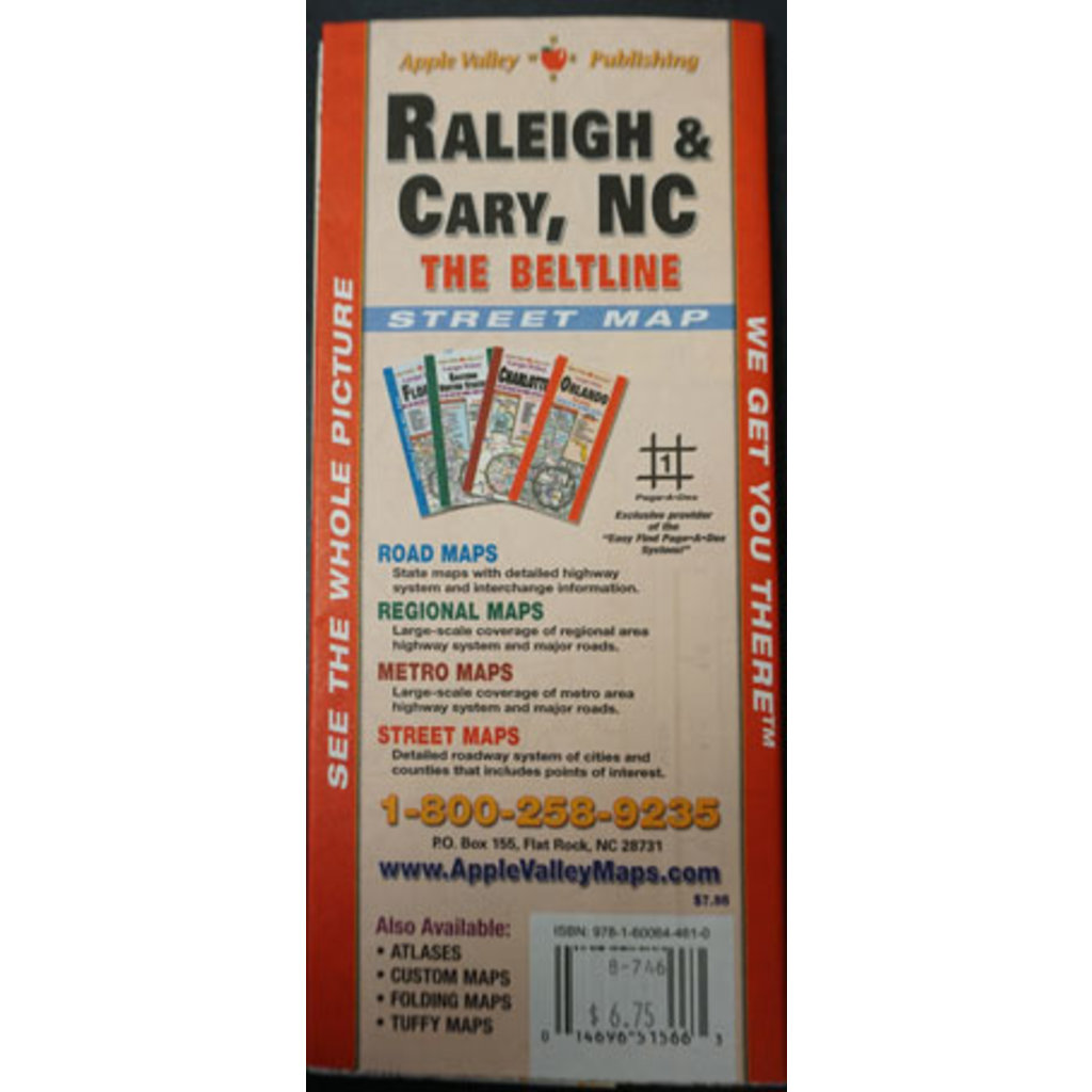 Raleigh/Cary (The Beltline) NC Folding Map