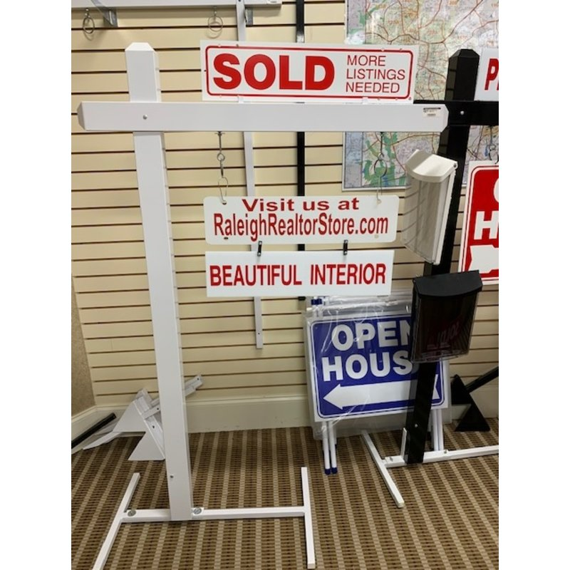 White Sign Post 64''Tall w/24''Arm