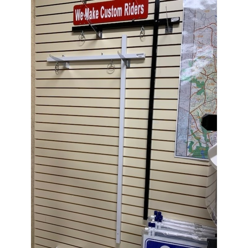 """Sign Post  White 1x1 inch w/ top rider clips 58"""" (New) and anchor"""