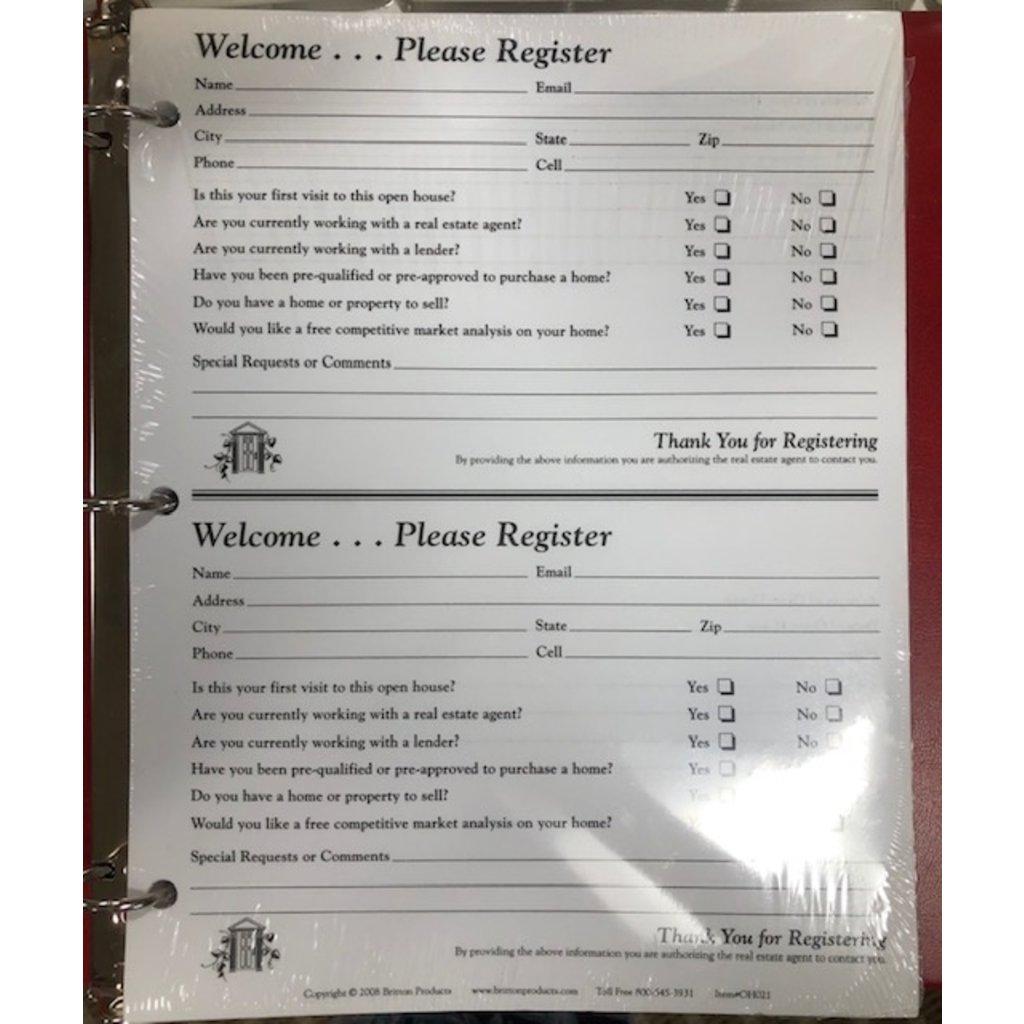 Open House Guest Register Lg.