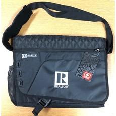 R Logo Black Messenger Bag