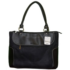 R/Logo Women's Black Suede  Brief tote