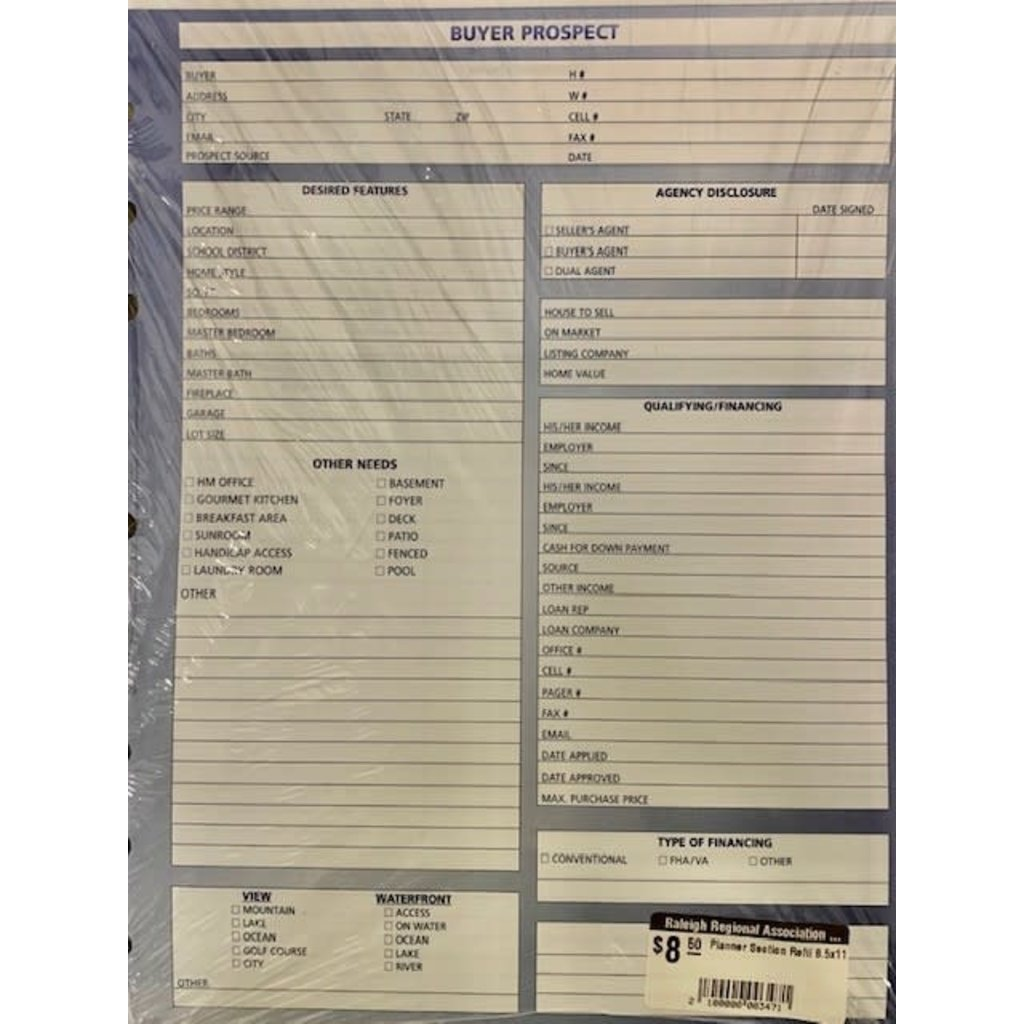 PLANNER REFILL 8.5 X 11 PACK OF 25