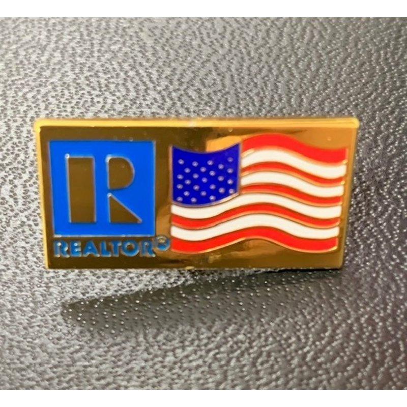 Pin-USA Flag Gold/Silver