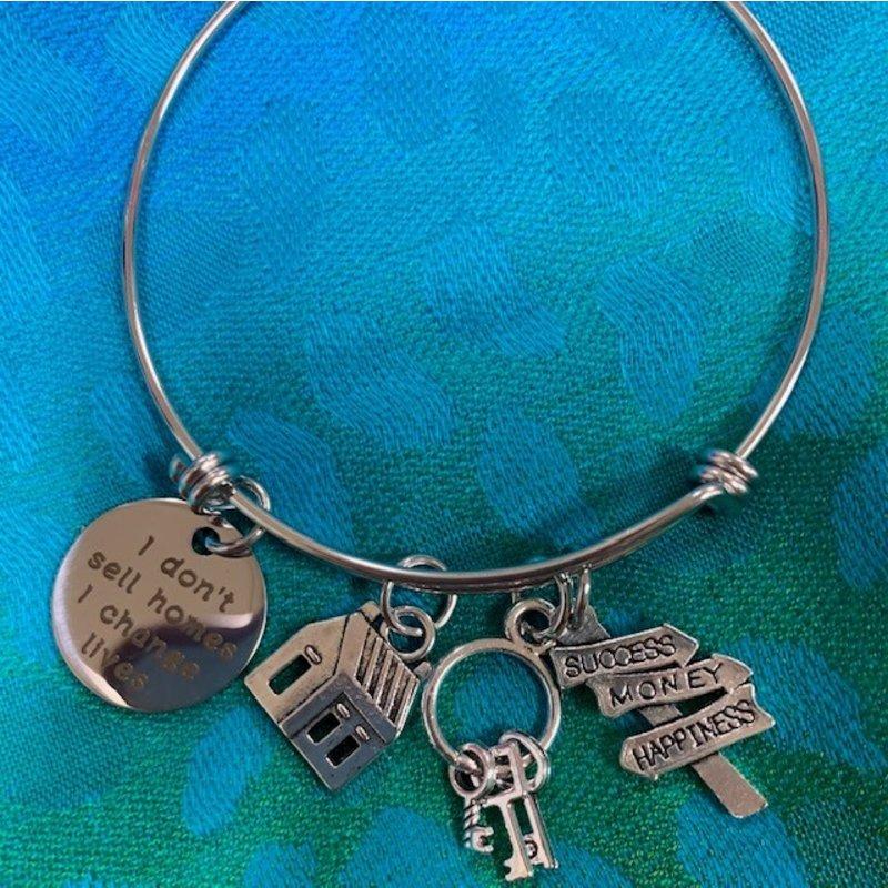 Realtor Silver Bangle Bracelet