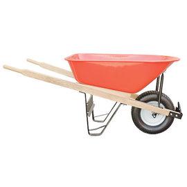 A.M. Leonard Leonard 6-Cubic-Foot Capacity Steel Tray Wheelbarrow with Narrow Diamond Tread Flat Free Tire