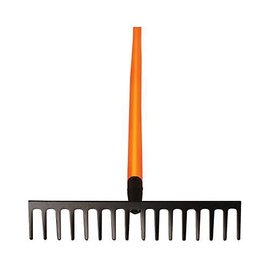 A.M. Leonard Leonard Straight Rake With Forged 16.5-Inch Wide, 16 Teeth Head, Composite Handle